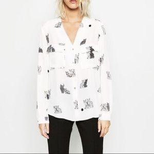 Zara cat print split back button down blouse